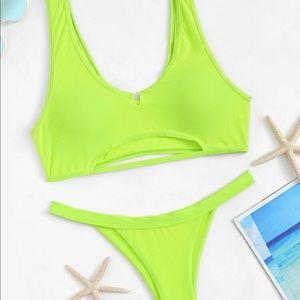 NWT Neon Green Cut Out Bikini